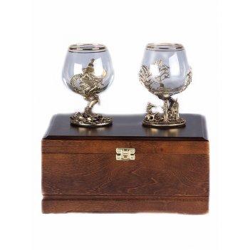 Набор из двух бокалов для коньяка охота на лося  и осетр (стандарт) в дере