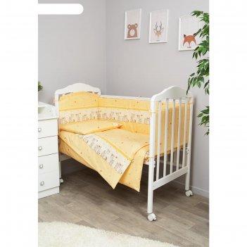 Комплект в кроватку «оленята», 6 предметов, бежевый