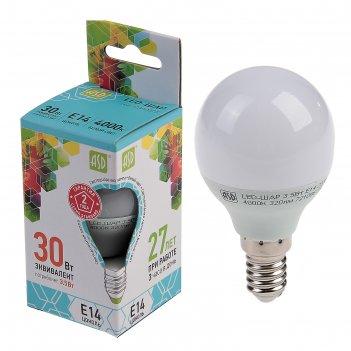 Лампа светодиодная asd, е14, 3.5 вт, 210 - 240 в, 4000 к, шар