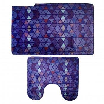 Набор ковриков для ванной и туалета синь, 2 шт: 45x75, 45x40 см
