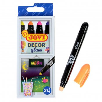 Мелки восковые для рисования по стеклу 4 цвета jovi