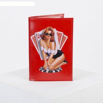 Обложка для паспорта, 9,5*0,3*13,5, принт девушка с картами, гладкий красн