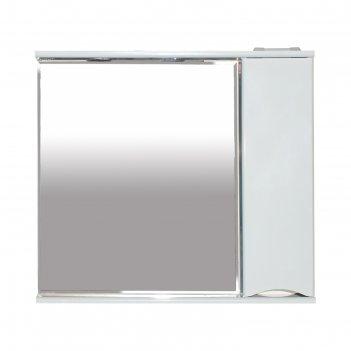 Шкаф-зеркало элвис - 85 правое (свет) белая эмаль