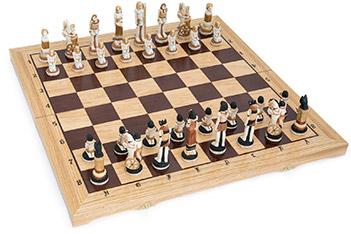 Шахматы египет фигуры полистоун, король 13,5см, доска 64х64см польша