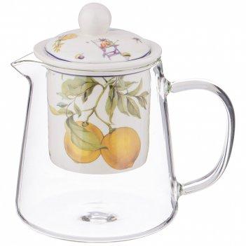 Чайник стеклянный с ситом lefard прованс лимоны 500 мл  (кор=36шт.)
