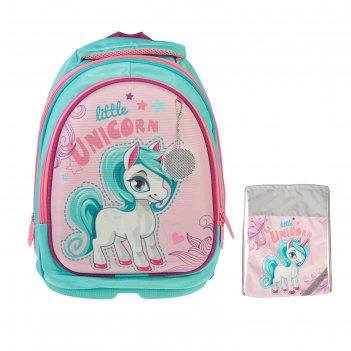 Рюкзак каркасный luris пони 38x28x18 см пони + мешок для обуви, для девочк