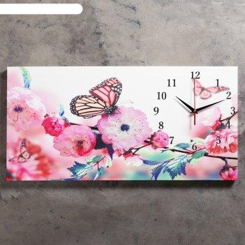 Часы настенные на холсте бабочки в цветах, 40х76 см микс