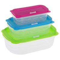 Набор пищевых контейнеров с крышками радуга, 3 шт, прямоугольные