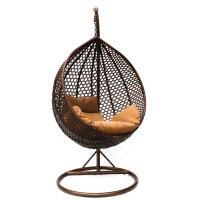 Подвесное кресло-качели на стальной штанге большие, иск. ротанг, коричневы