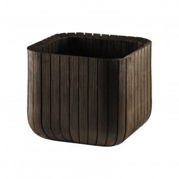 Кашпо wood planter l, 40 x 40 x 40 см, коричневое