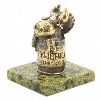 Статуэтка бык тушенка бронза змеевик 50х50х65 мм 200 гр.