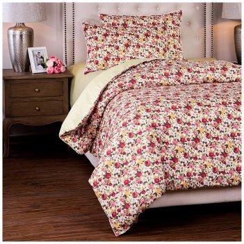 Кпб 1,5 спальный розовый сад,зел+цв, 100% хб, сатин+сорочка
