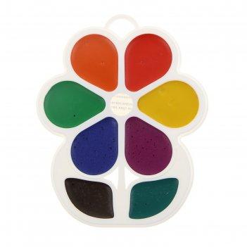 Акварель «луч», «цветочек», 8 цветов, в пластиковой коробке, без кисти