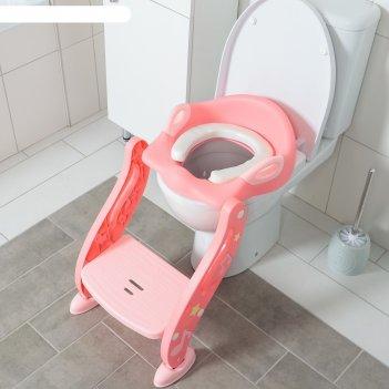 Сиденье на унитаз нотки, с мягким сиденьем, цвет розовый