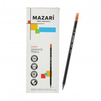 Карандаш чернографитный mazari hb шестиганный пластиковый diver с ластиком
