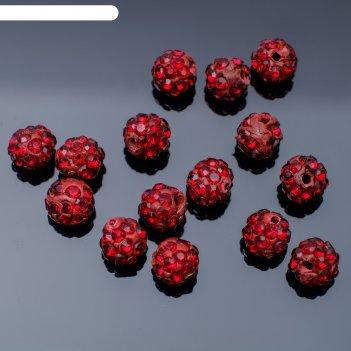 Бусина шамбала 6мм (набор 15шт), цвет темно-красный