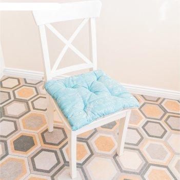 Подушка на стул, размер 45 x 45 см, лето, цвет мятный