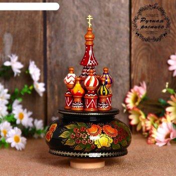 Сувенир музыкальный храм. жостово, 19х15,5 см, черная