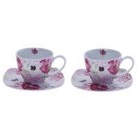 Сервиз чайный розовые хризантемы, 4 предмета: 2 чашки 250 мл, 2 блюдца 150