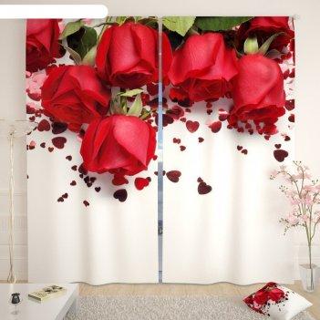 Фотошторы «праздничные розы», размер 145 x 260 см,  блэкаут