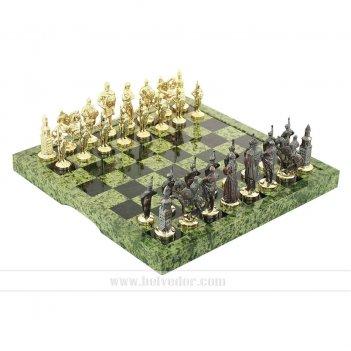 Шахматы из камня змеевика, фигурки бронзовое литье арт.3304