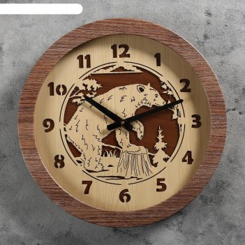 Часы настенные медведь, d=41 см, плавный ход