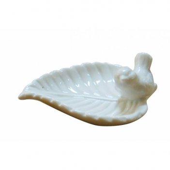 Декоративная тарелка с птичкой, l11 w7 h4,5см