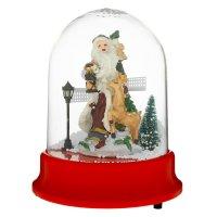 Сувенир снежный шар 20*15,5 см дед мороз с оленем