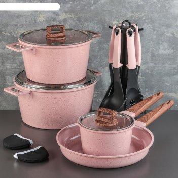 Набор посуды пинк, 4 предмета: кастрюли 8/6 л, сковорода 30х4,5 см, ковш 2