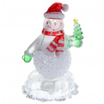 Игрушка световая снеговик на льдине с елкой (батарейки в комплекте) 1 led,