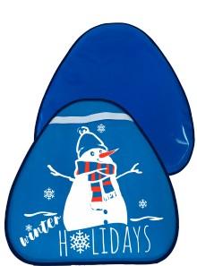 Мт13417 сани-ледянка треугольная снеговик цвет голубой, 52*54см