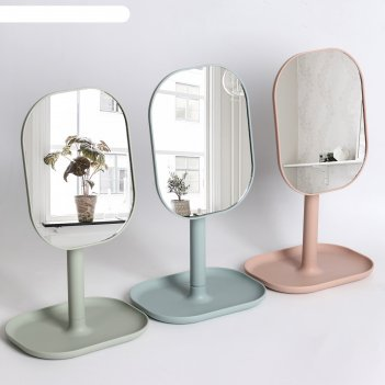 Зеркало настольное, зеркальная поверхность — 14 x 18 см, микс