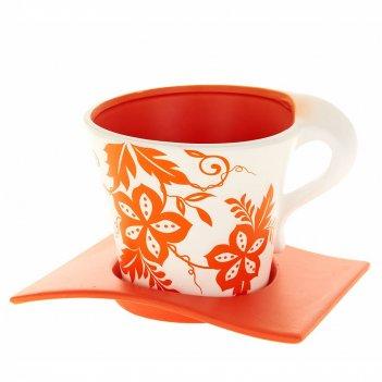 Горшок для цветов с поддоном оранжевый узор d=12,5см. h=11см.
