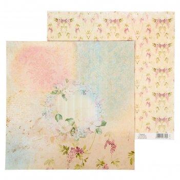 Бумага для скрапбукинга 29,5*29,5 см 180г/м2 цветочная сказка