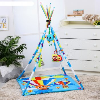 Развивающий коврик - вигвам «путешествие», с дугами, 100*100см + подарок