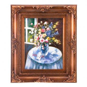 Картина  букет в вазе полотно-30*40 см.багет-60*...