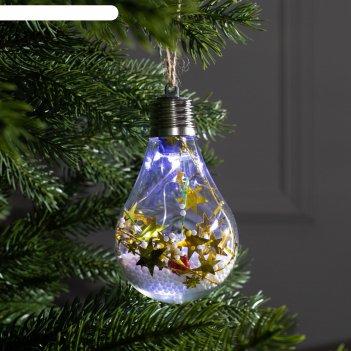 Елочный шар лампочка шишки с желтой мишурой, 5 led, от батареек, белый