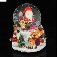 Сувенир снежный шар дед мороз на подарке музык., механич.