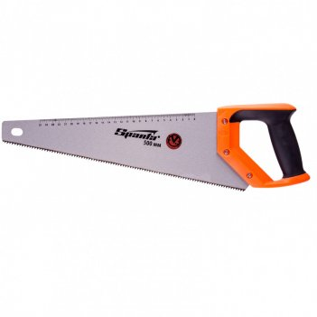 Ножовка по дереву, 500 мм, 7-8 tpi, зуб 2d, каленый зуб, линейка, двухкомп