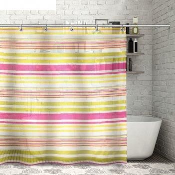 Штора для ванной 180x180 см полосочки, полиэстер, цвет жёлто-розовый