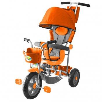 Л001 3-х колесный велосипед galaxy лучик с капюшоном оранжевый
