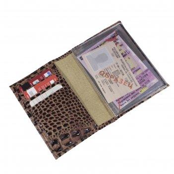Обложка для автодокументов, цвет коричневый тёмный кайман