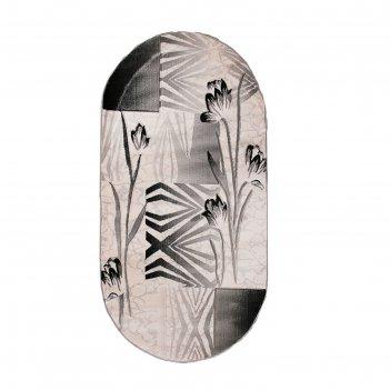 Ковёр omega carving  8398 bone/d.grey 3.0*5.0 м, овал