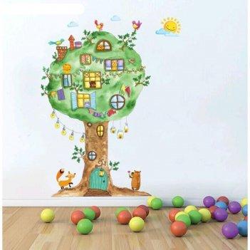 Наклейка пластик интерьерная домик на дереве 60х90 см