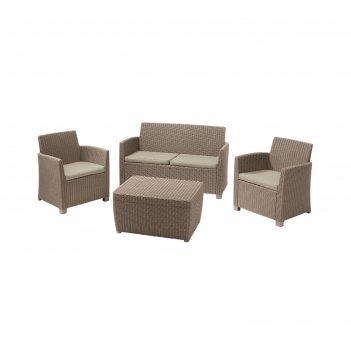 Набор мебели corona set with cushion box, 4 предмета: стол, диван, 2 кресл