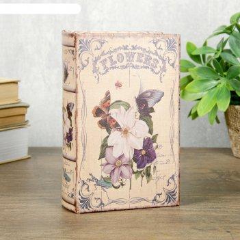 Сейф-книга дерево кожзам ретро. бабочки и цветы 17х11х5 см