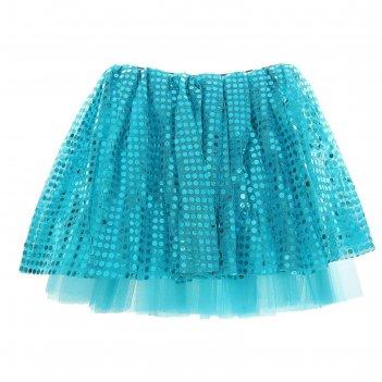 Карнавальная юбка блеск 3-х слойная 4-6 лет, цвет голубой
