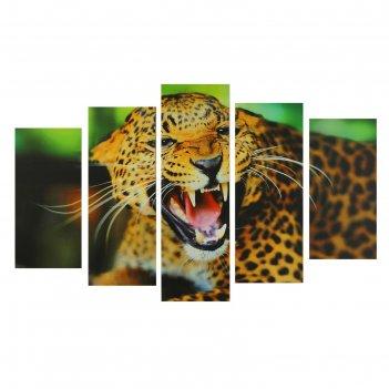 Модульная картина на подрамнике клыки гепарда, 2 — 25x52 см, 2 — 25x66,5 с