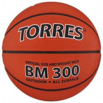 Мяч баскетбольный torres bm300, р. 6, темно-оранжево-черный