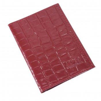Обложка для автодокументов, размер 9,5 х 13 см, цвет красный крокодил
